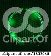 Green Circle Over Textured Metal