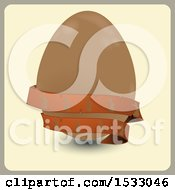 Chocolate Easter Egg With A Banner On Tan