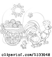 Clipart Of A Black And White Family Of Chickens With A Cart Of Easter Eggs Royalty Free Vector Illustration