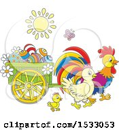 Clipart Of A Family Of Chickens With A Cart Of Easter Eggs Royalty Free Vector Illustration