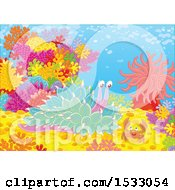 Clipart Of A Sea Slug And Crab On A Coral Reef Royalty Free Vector Illustration