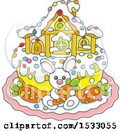 Cute Easter Cake With A Bunny House And Carrots