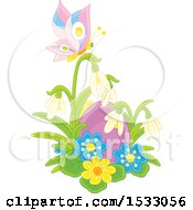 Clipart Of A Purple Easter Egg With Flowers And A Butterfly Royalty Free Vector Illustration