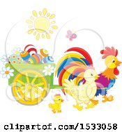 Clipart Of A Sun Shining On Chickens With A Cart Of Easter Eggs Royalty Free Vector Illustration