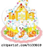 Cute Easter Cake With A White Rabbit House And Carrots