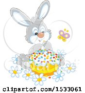 Cute Gray Bunny With An Easter Cake