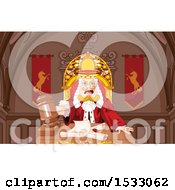 Clipart Of A King Judge Banging A Gavel Royalty Free Vector Illustration