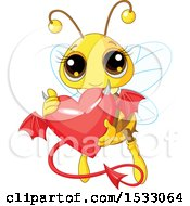 Clipart Of A Cute Bee Flying And Holding A Devil Heart Royalty Free Vector Illustration