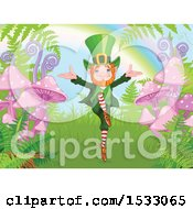 Happy Leprechaun Dancing By Ferns And Mushrooms At The End Of A Rainbow