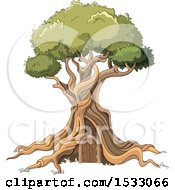 Clipart Of A Gnarled Tree With A Door Royalty Free Vector Illustration by Pushkin