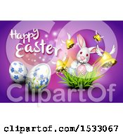 Clipart Of A Happy Easter Greeting With A Bunny Rabbit Eggs Grass And Flying Bells On Purple Royalty Free Vector Illustration