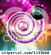 Clipart Of A Vinyl Record Spiraling Around A Disco Ball On Mosaic Royalty Free Vector Illustration