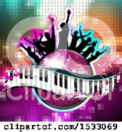 Clipart of a Group of Silhouetted People on a Pink Disco Ball and Music Keyboard Wave with Notes on Mosaic - Royalty Free Vector Illustration by merlinul #COLLC1533069-0175