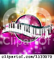 Pink Disco Ball And Music Keyboard Wave With Notes On Mosaic