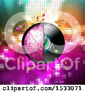 Clipart Of A Half Pink Disco Ball And Vinyl Record With Music Notes Over Mosaic Royalty Free Vector Illustration
