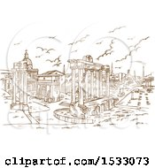 Clipart Of A Brown Sketched Scene Of Remains Of Temples In Foro Romano Rome Italy Royalty Free Vector Illustration