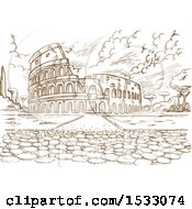 Clipart Of A Brown Sketched Scene Of The Colosseum Royalty Free Vector Illustration