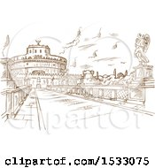 Brown Sketched Scene Of Castel Santangelo