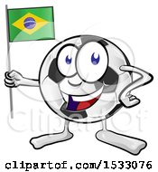 Clipart Of A Soccer Ball Mascot Character Holding A Brazilian Flag Royalty Free Vector Illustration