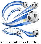 3d Soccer Balls And Uruguayan Flags
