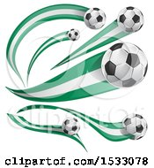 Clipart Of 3d Soccer Balls And Nigerian Flags Royalty Free Vector Illustration