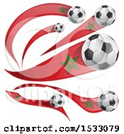 Clipart Of 3d Soccer Balls And Moroccan Flags Royalty Free Vector Illustration