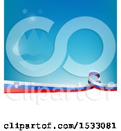 Slovenia Ribbon Flag Over A Blue And White Background