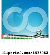 Poster, Art Print Of Sahrawi Republic Ribbon Flag Over A Blue And White Background