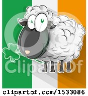 Poster, Art Print Of Happy Sheep Eating A Clover Shamrock Over An Irish Flag