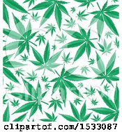 Clipart Of A Green Marijuana Pot Leaf Background Royalty Free Vector Illustration
