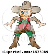 Clipart Of A Cowboy Ready To Draw His Pistols Royalty Free Vector Illustration by Domenico Condello