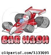 Clipart Of A Red Forumla One Race Car Over Car Wash Text Royalty Free Vector Illustration