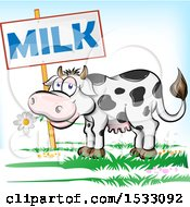 Clipart Of A Happy Dairy Cow Eating A Daisy Flower By A Milk Sign Royalty Free Vector Illustration