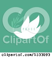 Clipart Of A White Peace Dove With An Olive Branch On A Green Background Royalty Free Vector Illustration