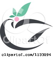 Clipart Of A White Peace Dove With An Olive Branch Royalty Free Vector Illustration