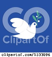 Clipart Of A White Peace Dove With An Olive Branch On A Blue Background Royalty Free Vector Illustration