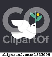 Clipart Of A White Peace Dove With An Olive Branch On A Black Background Royalty Free Vector Illustration