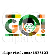 Clipart Of A Gasping Man In A GO Design Royalty Free Vector Illustration by elena