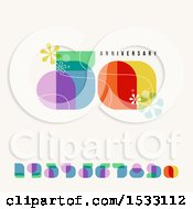 Clipart Of A Happy 50th Anniversary Design With Retro Numbers On Beige Royalty Free Vector Illustration