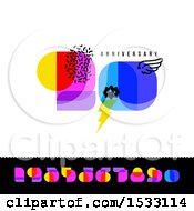 Clipart Of A Happy 50th Anniversary Design With Retro Numbers Royalty Free Vector Illustration