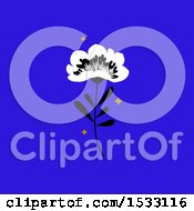 Poster, Art Print Of Flower With Stars On Blue