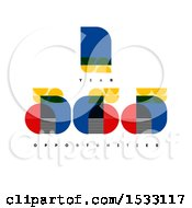 Clipart Of Bauhaus Style Number Year Designs Royalty Free Vector Illustration