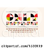 Clipart Of Only Happiness Text Over A Mosaic Alphabet On Beige Royalty Free Vector Illustration