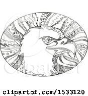 Clipart Of A Zentangle Bald Eagle Head In An Oval Black And White Royalty Free Vector Illustration