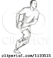 Clipart Of A Zentangle Rugby Player Passing Black And White Royalty Free Vector Illustration