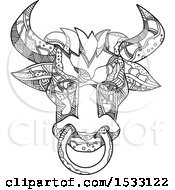 Zentangle Pinzgauer Bull Head Black And White
