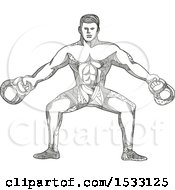 Clipart Of A Zentangle Bodybuilder Working Out With Kettlebells Black And White Royalty Free Vector Illustration