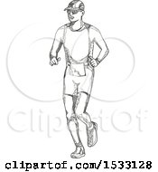 Clipart Of A Zentangle Triathlete Jogging Black And White Royalty Free Vector Illustration