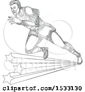 Clipart Of A Zentangle Track And Field Athlete Sprinting Over Stars Black And White Royalty Free Vector Illustration