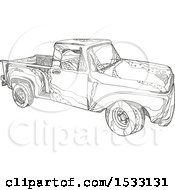 Clipart Of A Zentangle Pickup Truck Black And White Royalty Free Vector Illustration